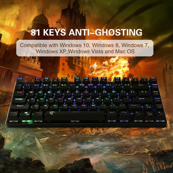 67ed6435167 E-Element Z-88 RGB Mechanical Gaming Keyboard, Blue Switch, Water  Resistant, Compact 81 Keys Anti-Ghosting for Mac PC, Black